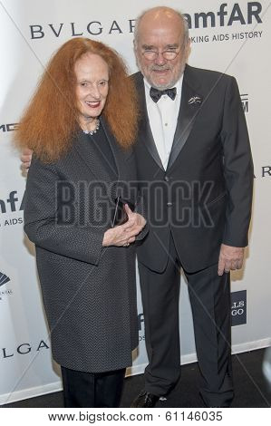 NEW YORK-FEB 5: Creative Director Vogue magazine Grace Coddington (L) and photographer Peter Lindbergh attend the 2014 amfAR New York Gala at Cipriani Wall St. on February 5, 2014 in New York City.