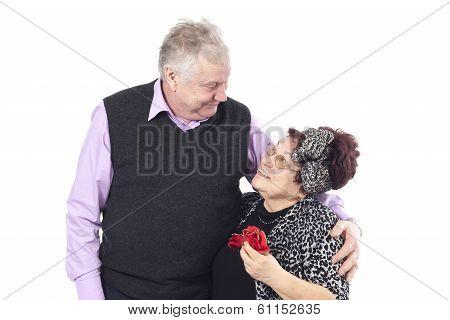 Portrait of a romantic senior couple