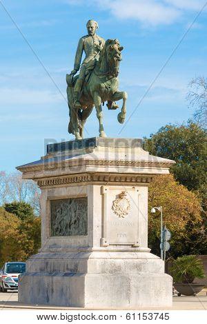 The equestrian statue of General Prim in Barcelona's Parc de la Ciutadella on January 26 2014 poster