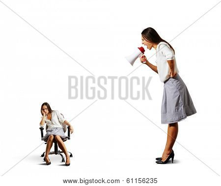 big angry businesswoman screaming at lazy woman over white background