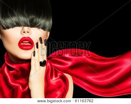 Sexy Model Woman Portrait. High Fashion Girl with Trendy Hair style, Make up and Manicure. Long Black Fringe Hairstyle