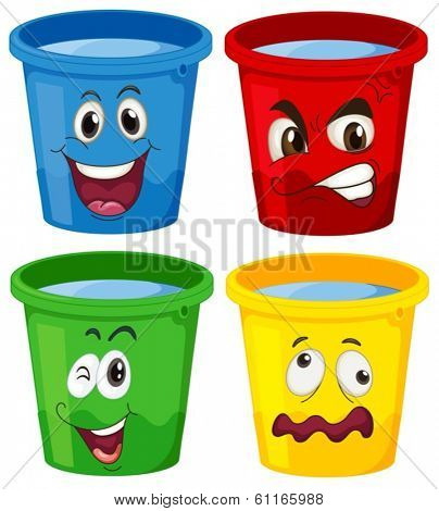 Illustration of the buckets with faces on a white background