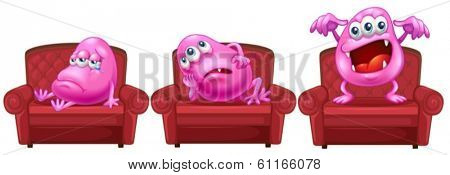 Illustration of the red chairs with pink monsters on a white background