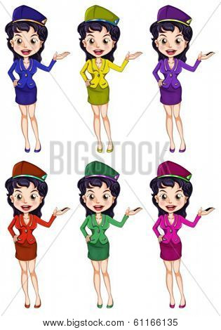 Illustration of an air hostess with different uniforms on a white background