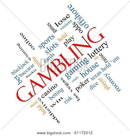 Gambling Word Cloud Concept angled with great terms such as winning odds casino and more. poster