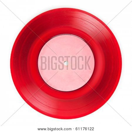 Early 1970s See through red single EP record or analog disc ( 45 rpm / 7 inch), isolated on white.