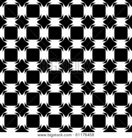Design Seamless Monochrome Tetragon Pattern. Abstract Geometric Lattice Background