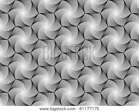 Design seamless monochrome hexagon geometric pattern. Abstract whirl lines textured background. Vector art poster