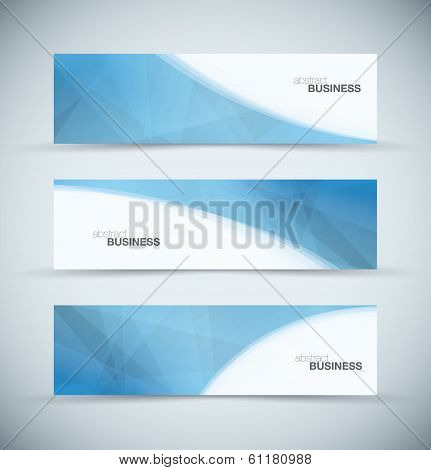 Three abstract blue business header banners background set vector design