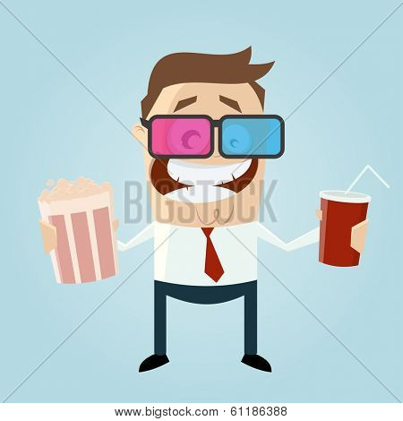 funny man with popcorn and cola is watching 3d movie