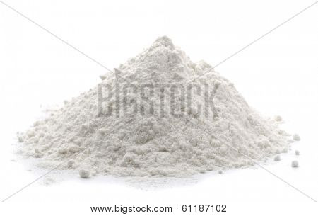 Pile of wheat flour isolated on white