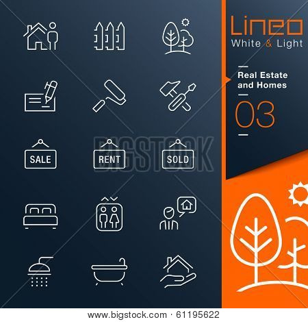 White & Light - Real Estate and Homes outline icons