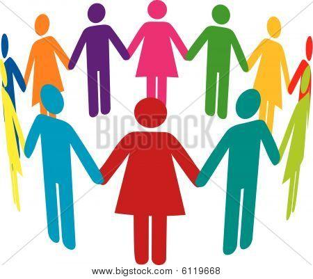 Vektor Kreis von bunten Menschen