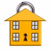 A house with closed padlock design to represent home security. poster