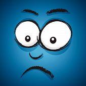 a blue abstract cartoon worried cartoon face poster