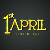 Happy Fool's Day funky concept with golden text on grey background. poster