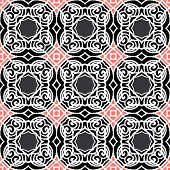 Vintage vector art deco pattern in black, white and pink. Seamless texture for web; print; wallpaper; luxury invitation card or website background; summer, fall or winter fashion; fabric or textile poster