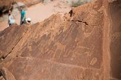 Historic engravings from the Stone Age in Namib poster