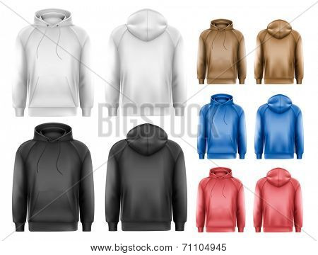 Set of different colored male hoodies. Vector.