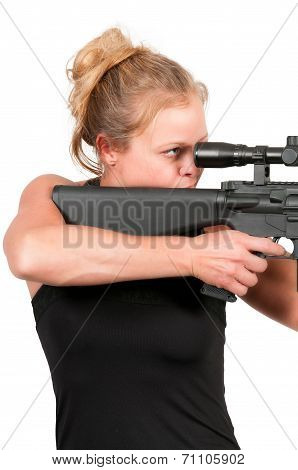 Woman With Assault Rifle