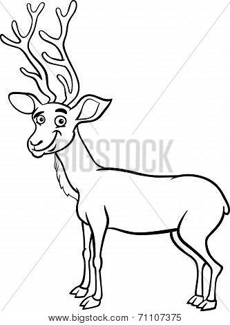 Wapiti Deer Cartoon Coloring Page
