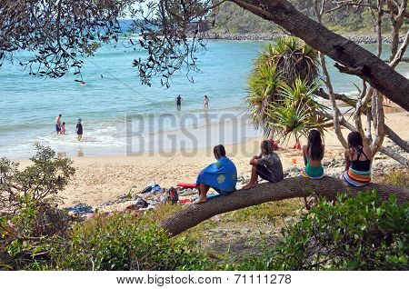 Children At Beach In Noosa National Park, Queensland Australia.