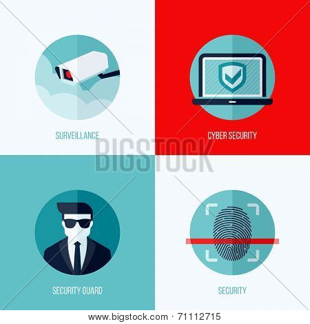 Modern Flat Vector Concepts Of Security And  Surveillance. Icons Set For Websites, Mobile Apps