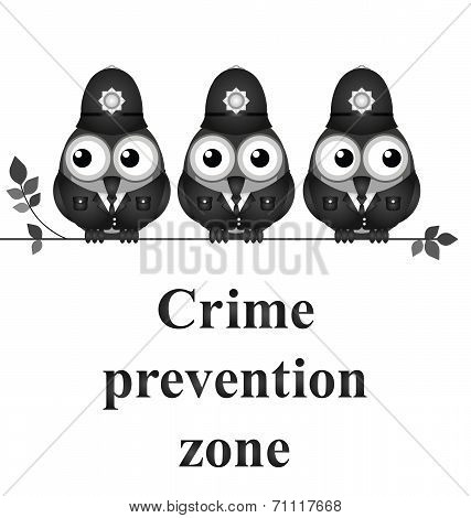 Monochrome comical crime prevention zone UK version isolated on white background poster