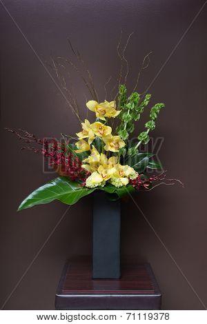 Floral Arangement With Calla, Cymbidium, Hydrangea, Orchids