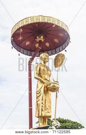 Sculpture Of Kruba Srivijaya In Thailand Temple