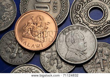Coins of Malawi. Malawian coat of arms and Malawian national hero John Chilembwe depicted in Malawian tambala coins.