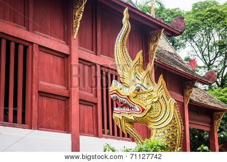 Traditional Thai Style Art Of Naga Head Statue