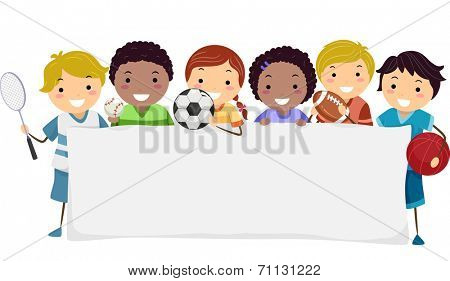 Banner Illustration Featuring Kids Wearing Different Sports Attires