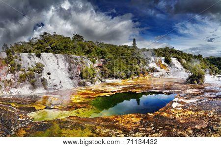 Orakei Korako geotermal area, New Zealand poster