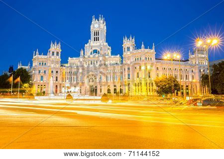 Plaza de la Cibeles (Cybele's Square) - Central Post Office (Palacio de Comunicaciones), Madrid, Spain. poster