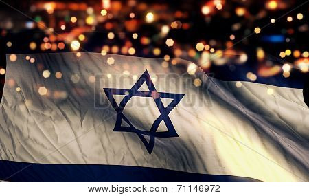Israel National Flag Light Night Bokeh Abstract Background