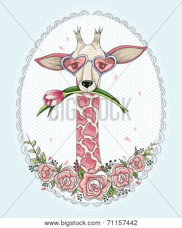 Cute Hipster Giraffe Background With Floral Frame.