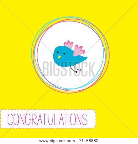 Congratulations card with cute blue bird. Vector illustration poster