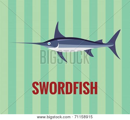 Swordfish - drawing on green background.