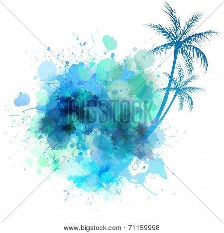 Watercolor Splash With Palm