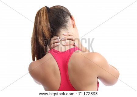 Back view of a fitness woman with neck pain isolated on a white background poster