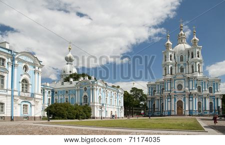 ST. PETERSBURG, RUSSIA - JULY 7, 2008: People on the Rastrelli square in front of the Smolny Convent. Smolny Cathedral was built by the Italian architect Francesco Bartolomeo Rastrelli in 1748-1763