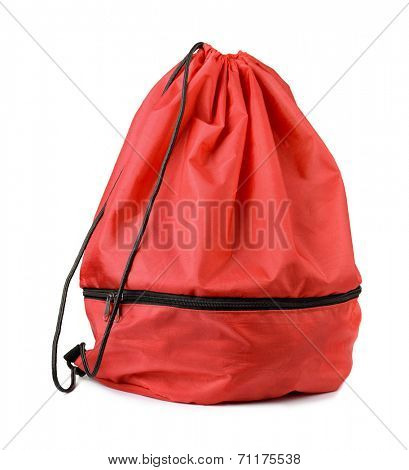 Red drawstring shoe bag isolated on white