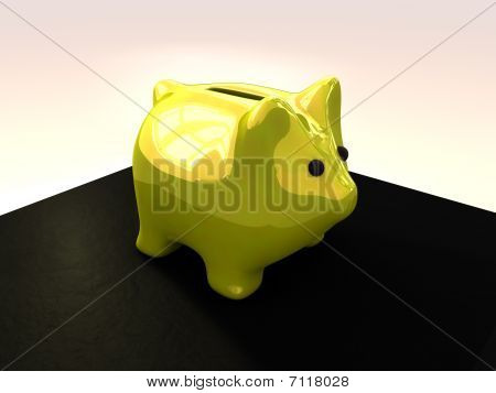 Shiny yellow piggy bank over white background. poster