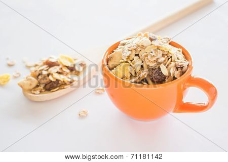 Mixture Of Cereals On White Table