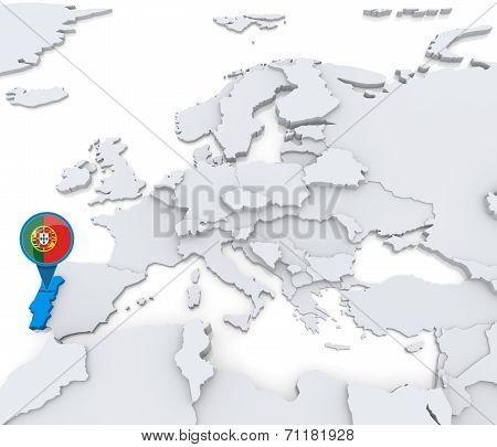 Portugal On A Map Of Europe