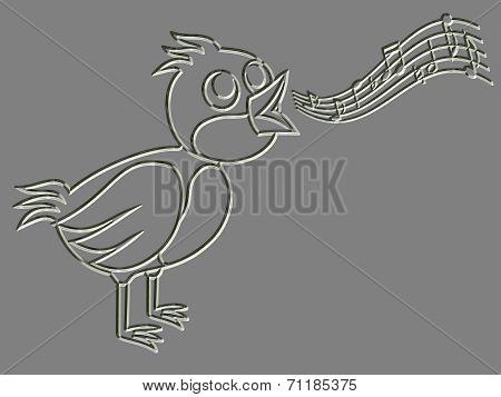 Metal Relief Singing Bird