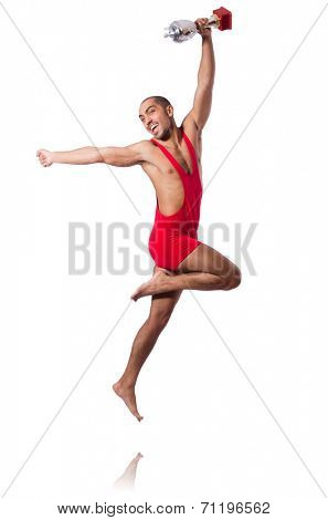 Wrestler in red dress isolated on the white background