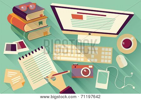 Flat design objects, work desk, long shadow, office desk, computer and stationery