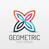 Vector abstract geometric shape icon, company logo design, business symbol concept, minimal line style poster
